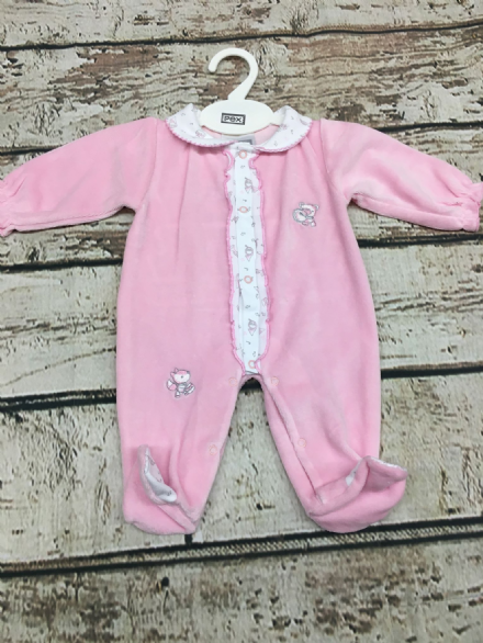 Velour Sleepsuit with Peter Pan Collar